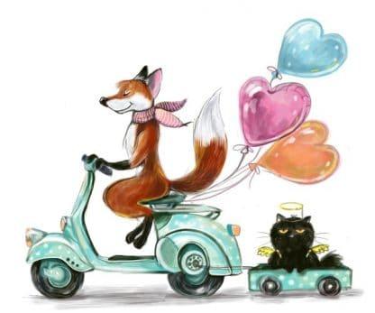 Líška s mačkou - ilustrácia od Sofia Belenko