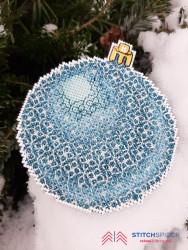 Modrá vianočná guľa - technika Blackwok