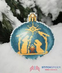Modrá vianočná guľa - Betlehemská rodina