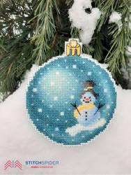 Modrá vianočná guľa - Snehuliak